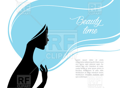 400x294 Silhouette Of Beautiful Woman With Blue Hair Royalty Free Vector