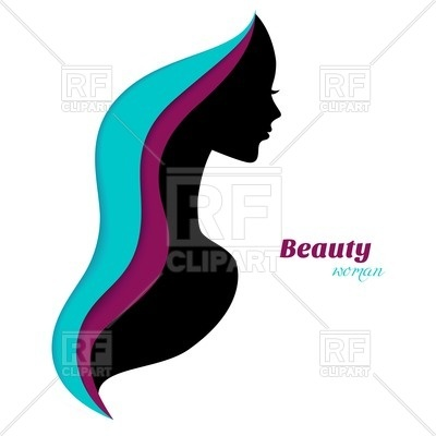 400x400 Silhouette Of Woman With Abstract Hair Royalty Free Vector Clip