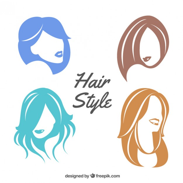 626x626 Colorful Female Hair Style Vector Free Download