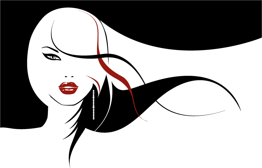 843x540 Vector Girls With Long Hair Flowing Free Vector 4vector