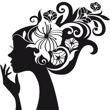 374x373 Silhouette Of A Woman's Head With Long Hair