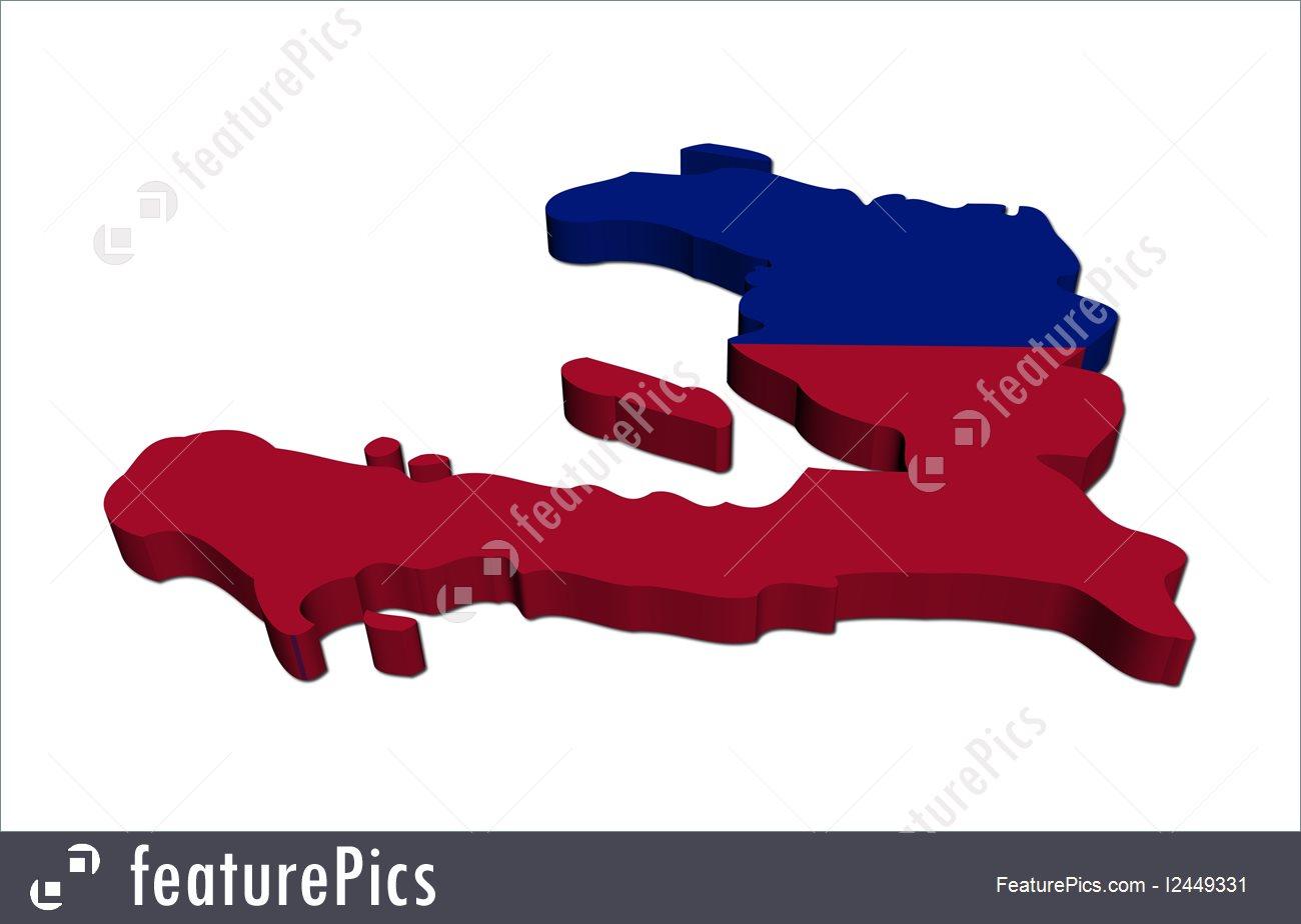 1300x924 Illustration Of Haiti Map Flag 3d Render
