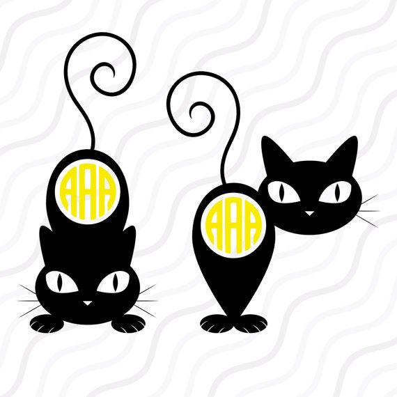 570x570 Black Cat Svg, Halloween Cat Svg,black Cat Monogram Svg Cut Table