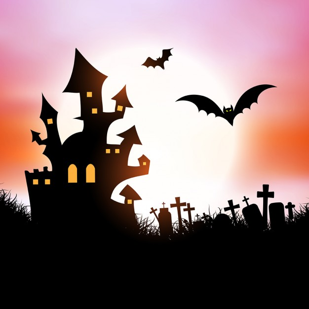 626x626 Halloween Background With Spooky House And Bats Vector Free Download