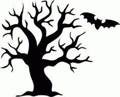 236x192 Halloween Tree Silhouette Clipart