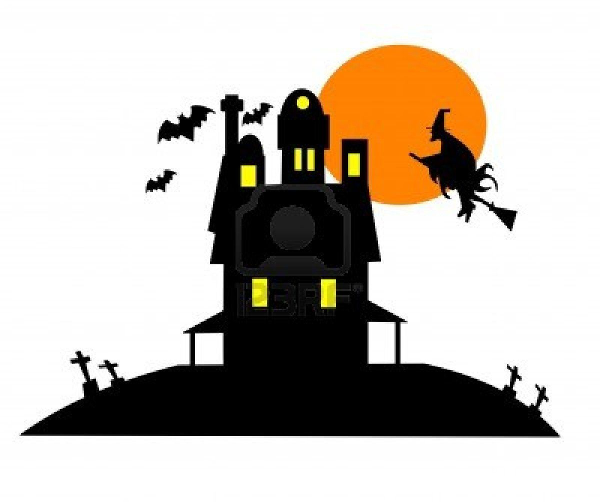 1200x1005 Halloween Illustration Featuring The Silhouette Of A Haunted House