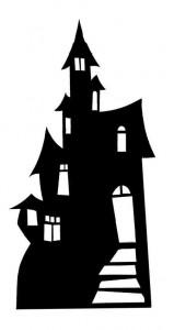 159x300 Spooky Halloween Haunted House Silhouette Large Cardboard Cutout
