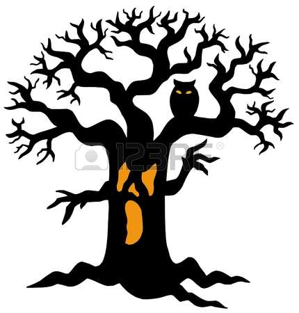 430x450 Halloween Gnarled Trees Silhouette Clipart Collection