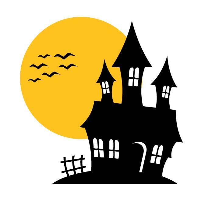 660x660 Haunted House Silhouette Clipart