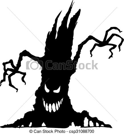435x470 Vector Illustration Of Halloween Scary Tree Silhouette Vector