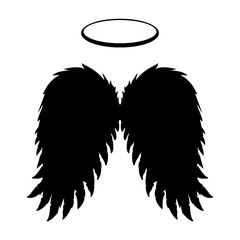 240x240 Silhouette Of Black Angel Wings And Halo On A White Background