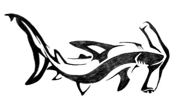 600x375 Nice Tribal Hammerhead Shark Tattoo Design By Aingealdorcha