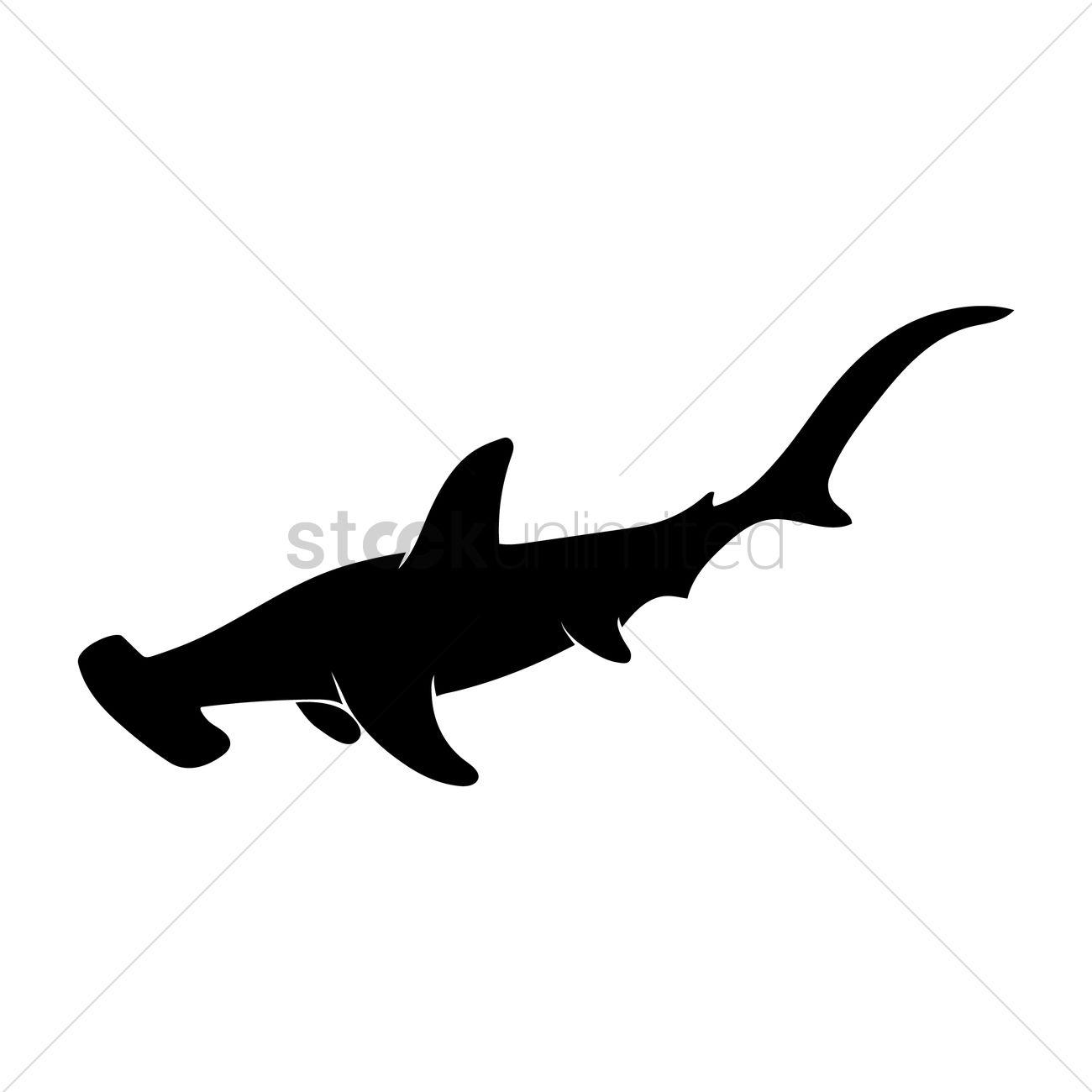 1300x1300 Silhouette Of Hammerhead Shark Vector Image