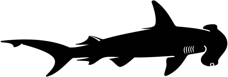 1075x365 Hammerhead Shark Fish Silhouette Wall Decal Wallmonkeys
