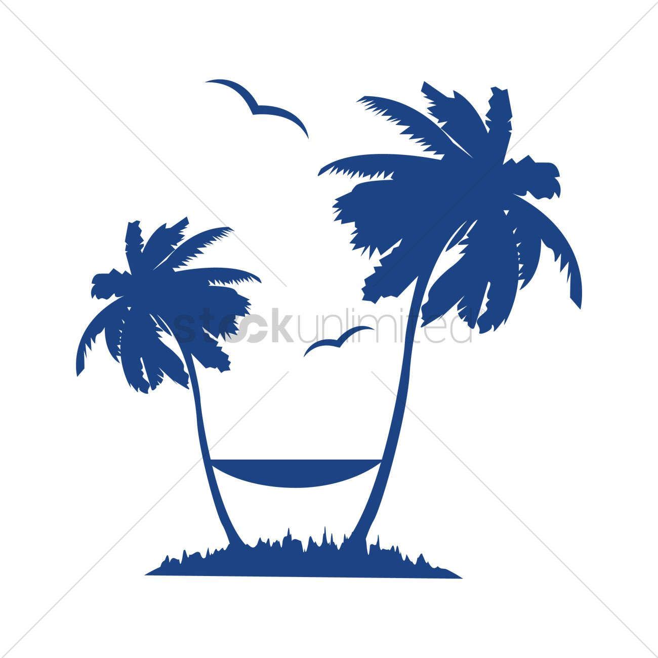 1300x1300 Free Palm Tree With Hammock Vector Image