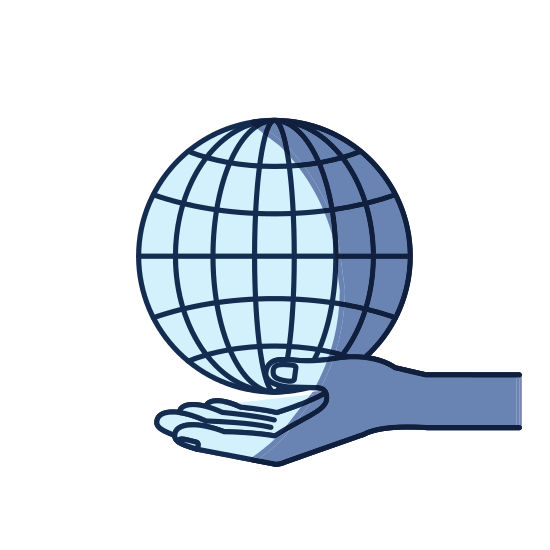 550x550 Blue Color Silhouette Shading Of Hand Palm Giving A Globe Chart