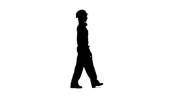 590x332 Engineer Girl Carries In A Hand Saw For Its Builders. Silhouette