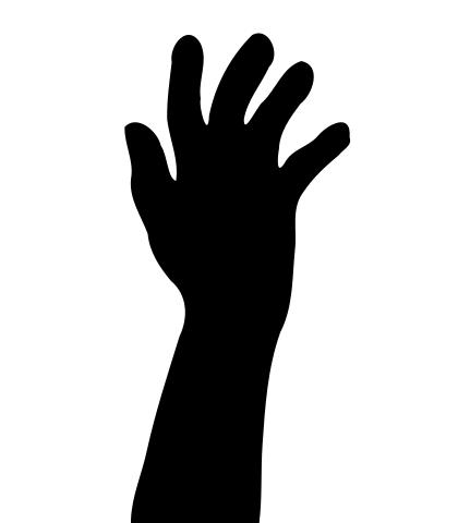 420x480 Raised Hand In Silhouette Clipart