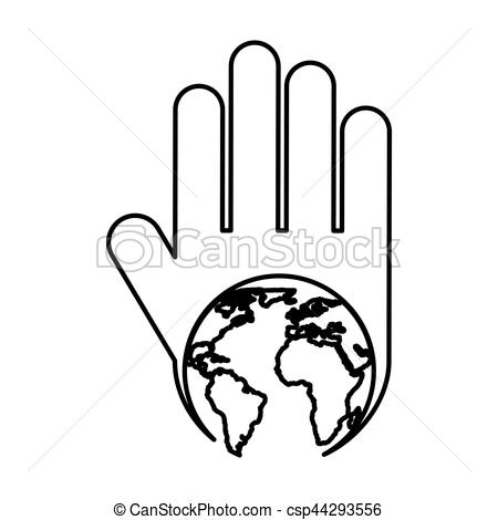 450x470 Hand Human With World Planet Silhouette Icon Vector Clipart