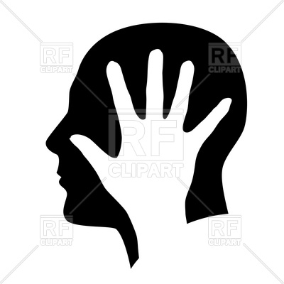 400x400 Head And Hand Silhouette Royalty Free Vector Clip Art Image