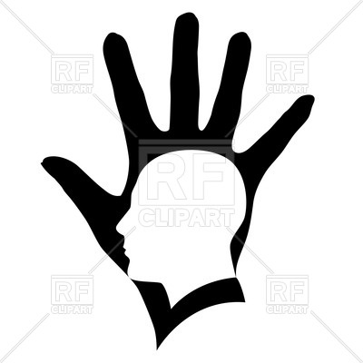 400x400 Head Silhouette In Black Hand Royalty Free Vector Clip Art Image