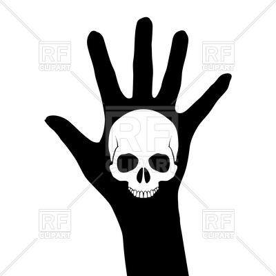 400x400 Skull On The Hand Silhouette Royalty Free Vector Clip Art Image