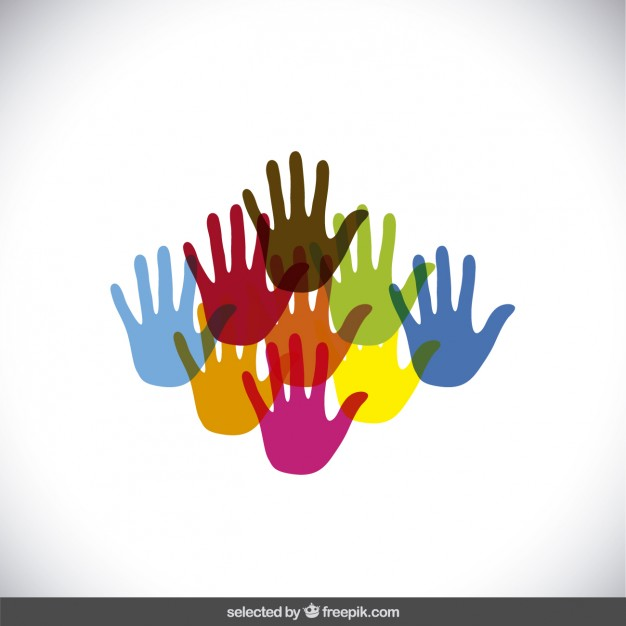 626x626 Colorful Hands Silhouettes Vector Free Download