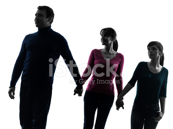 588x440 Family Father Mother Daughter Walking Holding Hands Silhouette