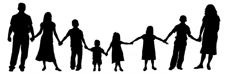 750x244 Free Clipart Silhouette Family With Young Children Holding Hands
