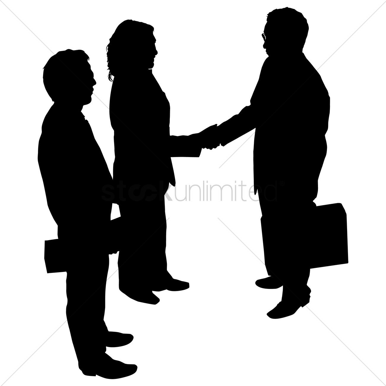 1300x1300 Businessman And Woman Shaking Hand Silhouette Vector Image