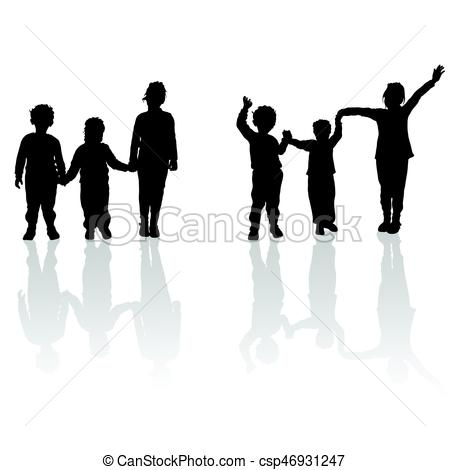450x470 Children Holding Hands Black Silhouette With Shadow Eps Vector