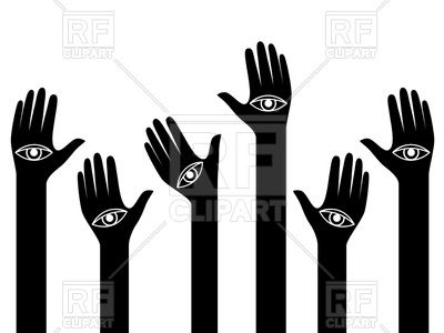 400x300 Human Hands With Eyes On The Palms Raised Up Royalty Free Vector
