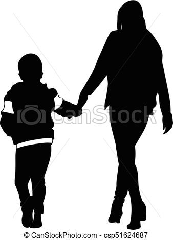 338x470 Silhouette Of Woman And Child Walking Holding Hands