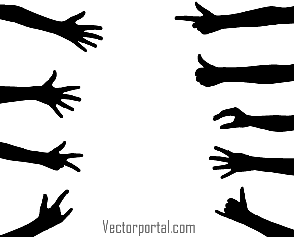 600x485 Vector Hand Gesture Silhouettes Images Silhouette Images