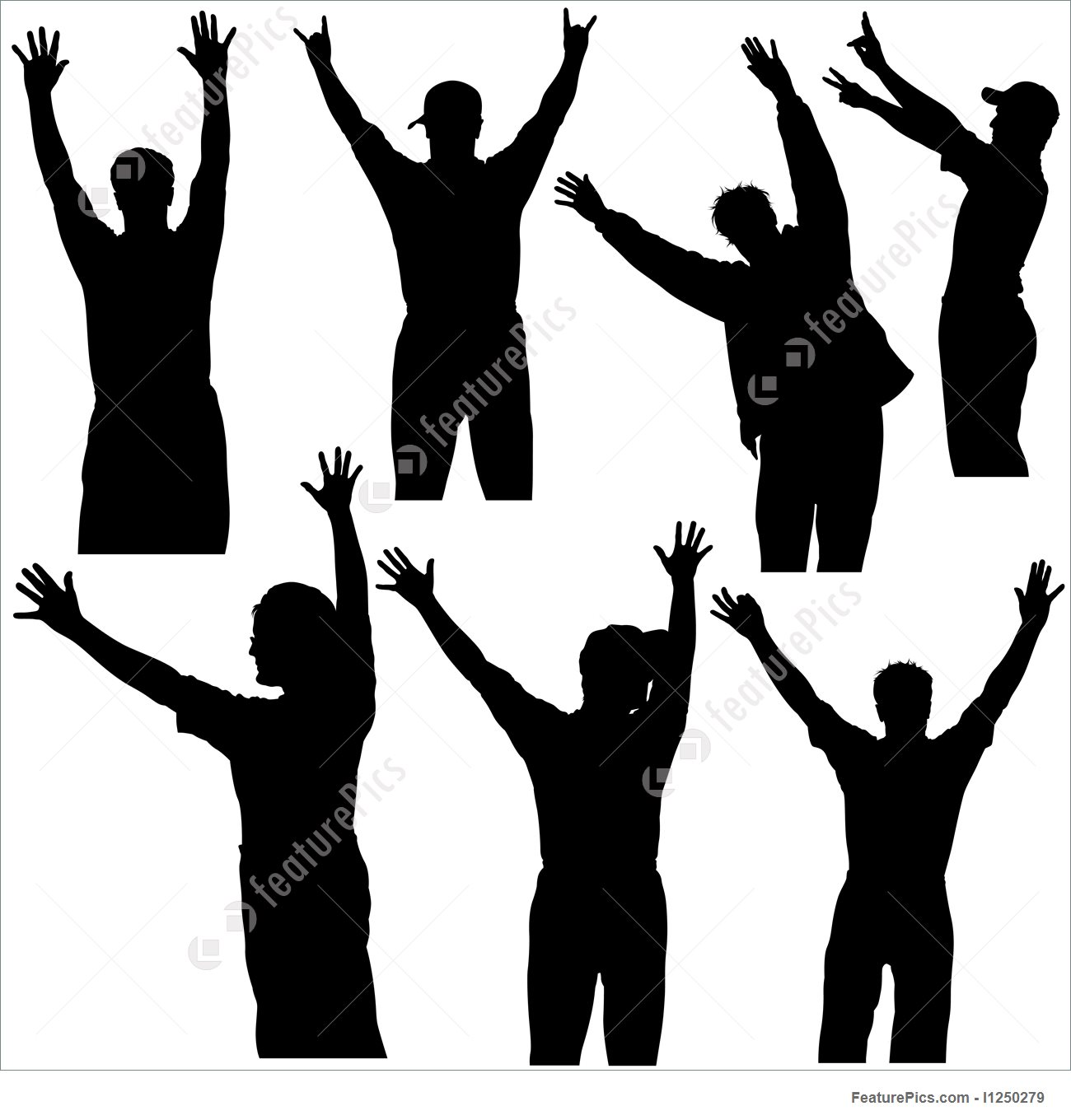 1300x1360 Illustration Of Hands Up Silhouettes