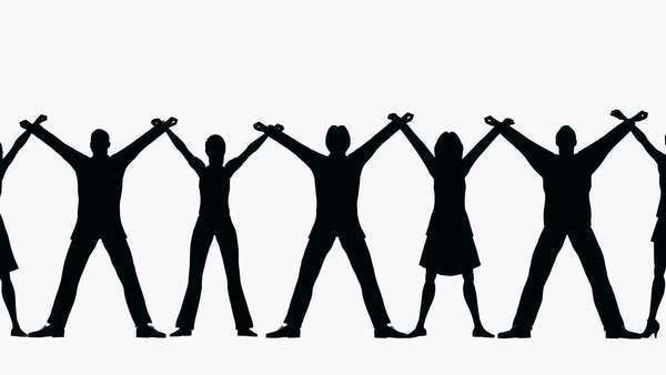 600x338 Row People Silhouette Man Woman Chain With Hands Up