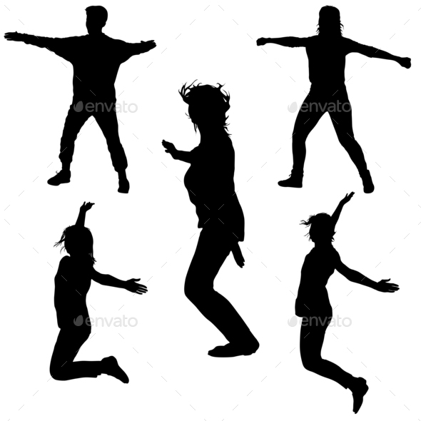 590x590 Silhouette Of Young People Jumping With Hands Up, Motion Stock