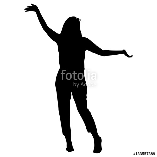 500x500 Silhouette Young Girl Jumping With Hands Up, Motion. Vector