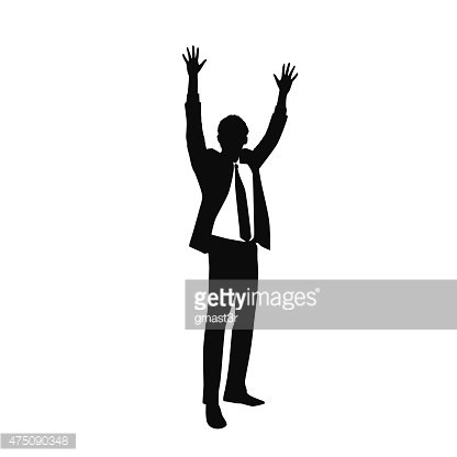 416x416 Business Man Silhouette Excited Hold Hands Up Premium Clipart