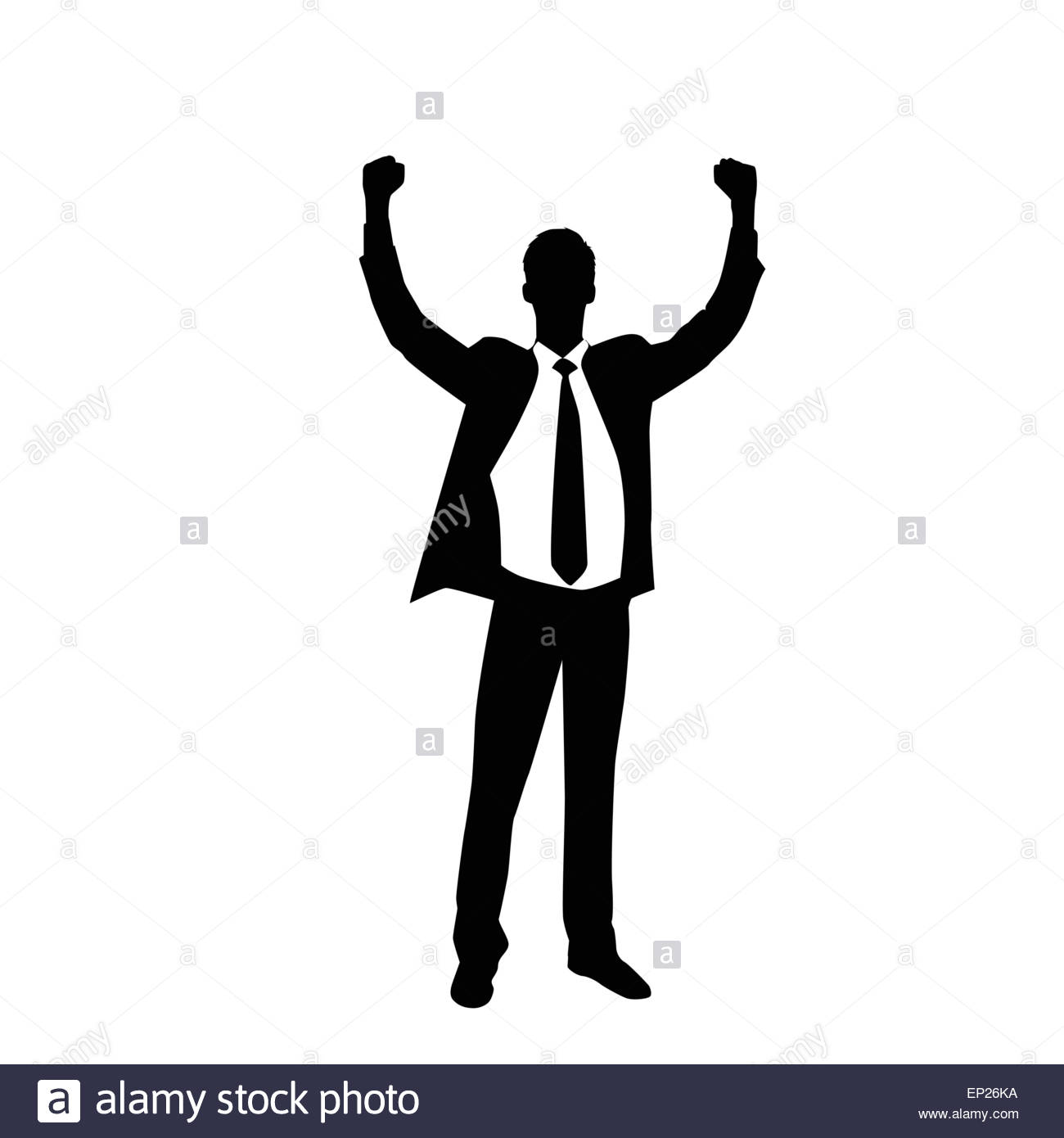 1300x1390 Business Man Silhouette Excited Hold Hands Up Stock Vector Art