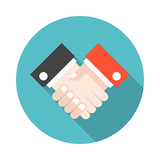 160x160 Handshake Icon. Black Icon Isolated On White Background. Round