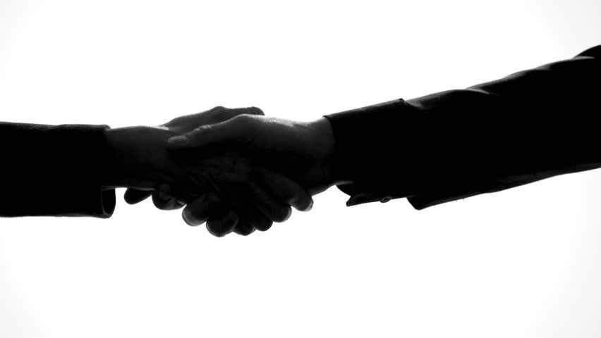 852x480 Closeup Shot Of Hand Shake Man Woman In Silhouette, Black