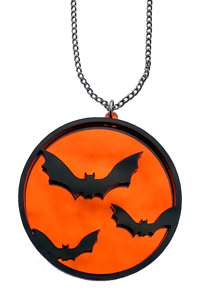 702x1000 Flying Bats Silhouette Necklace Cute And Creepy, The Perfect