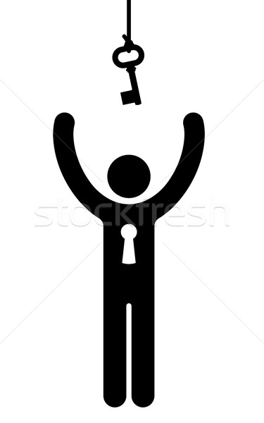 375x600 Figure Reaching For A Hanging Key Vector Illustration Adrian
