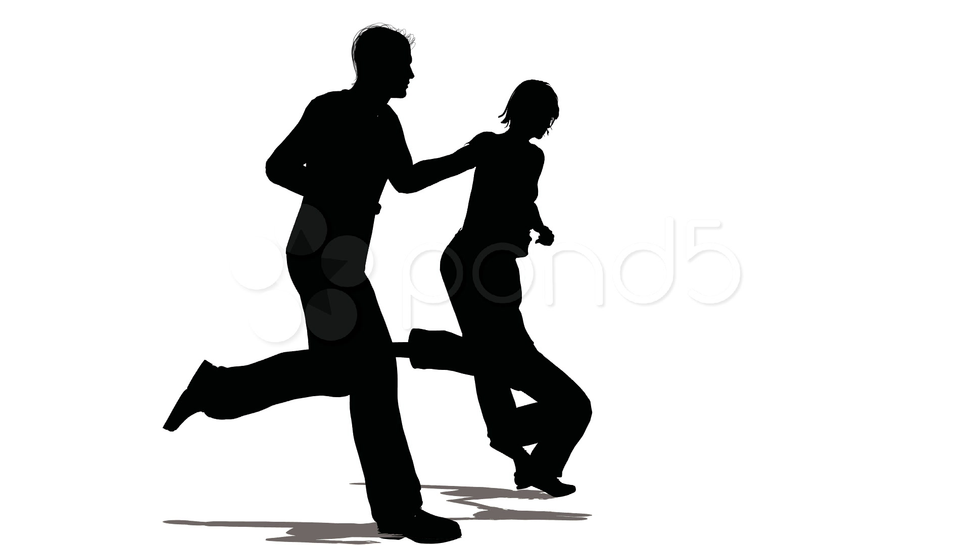 1920x1080 Running Family With Hanging Child Silhouette ~ Clip