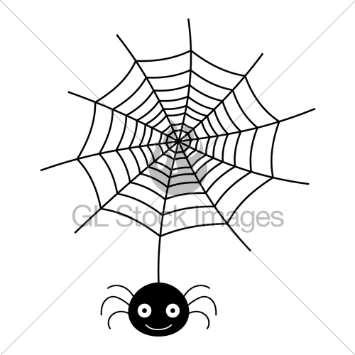500x500 Vector Hanging Spider And Web Silhouette Icon On White Ba Gl