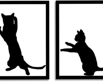 340x270 Cat Silhouette Wood Black Cat Hanging Black Cat Black Cat