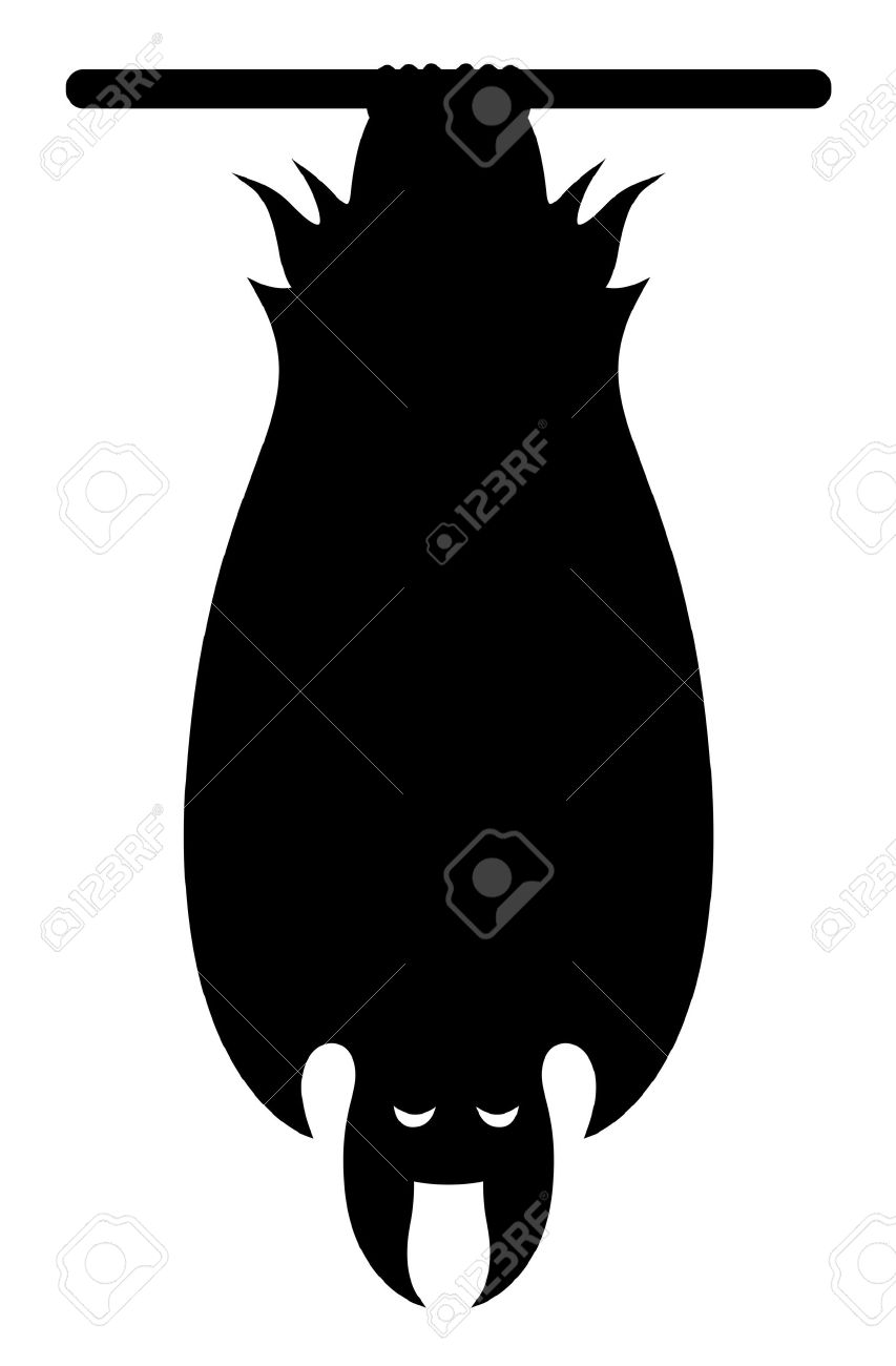 853x1300 Creepy Clipart Halloween Hanging Bat