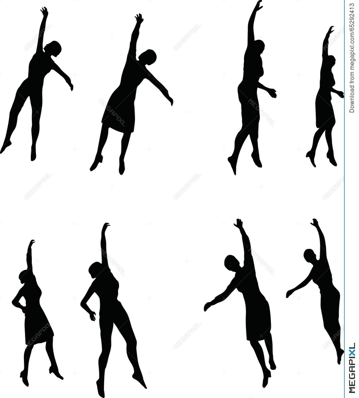 721x800 Eps 10 Vector Illustration In Silhouette Of Business Woman Hanging
