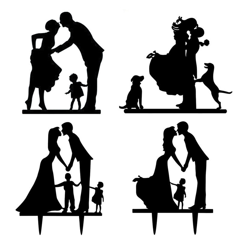 800x800 1pcs Acrylic Wedding Cake Topper Happy Family Wedding Cake